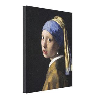 Johannes Vermeer - menina com um brinco da pérola Impressão De Canvas Esticada