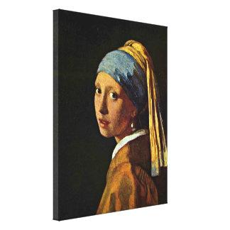Johannes Vermeer - menina com um brinco da pérola Impressão De Canvas Envolvidas