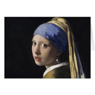 Johannes Vermeer - menina com um brinco da pérola Cartão Comemorativo