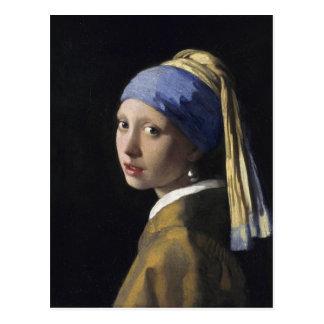 Johannes Vermeer - menina com um brinco da pérola Cartao Postal
