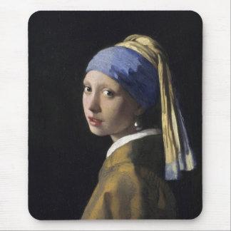 Johannes Vermeer - menina com um brinco da pérola Mouse Pads