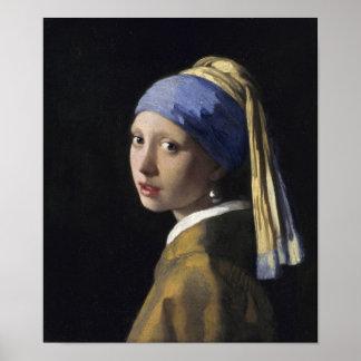 Johannes Vermeer - menina com um brinco da pérola Poster
