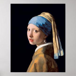 Johannes Vermeer, menina com um brinco da pérola Poster