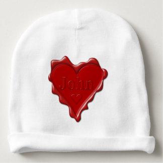 John. Selo vermelho da cera do coração com John Gorro Para Bebê