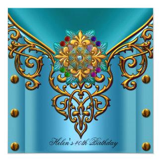 Jóia azul do ouro da cerceta do partido de convites personalizado
