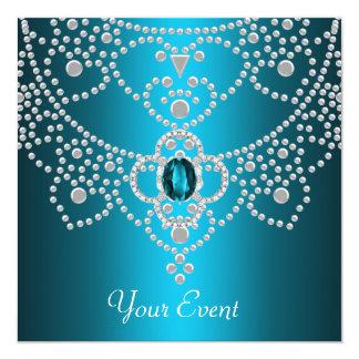 Jóia branca azul do diamante da folha de prova da convites personalizado
