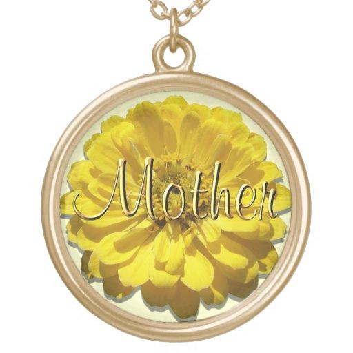 """Jóia - colar - Zinnia amarelo """"mãe """""""