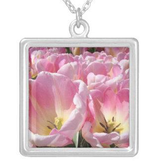 Jóia cor-de-rosa da prata esterlina da colar da fl