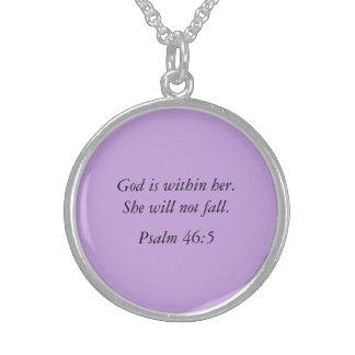 Jóia da colar da prata do verso da bíblia do salmo
