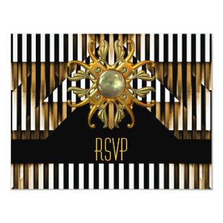 Jóia da listra do ouro amarelo do preto do art convite 10.79 x 13.97cm