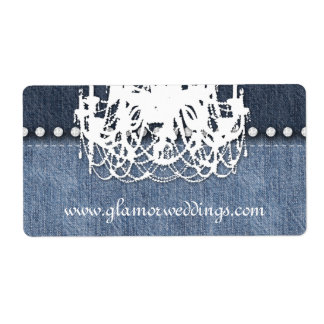 Jóia de jeans da etiqueta do candelabro da sarja etiqueta de frete