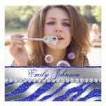 Jóia de prata azul da festa de solteira da zebra convites personalizados