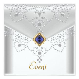 Jóia de prata branca elegante do azul do ouro da convites
