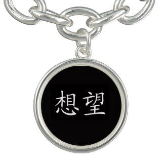 """Jóia do design do """"desejo"""" braceletes com charms"""