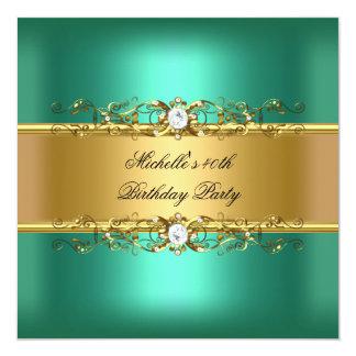 Jóia do diamante do ouro verde de jade do partido convite quadrado 13.35 x 13.35cm