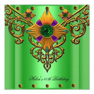 Jóia do ouro verde de partido de aniversário de 40 convite quadrado 13.35 x 13.35cm