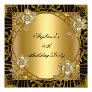 Jóia floral do preto do ouro do partido de convite quadrado 13.35 x 13.35cm