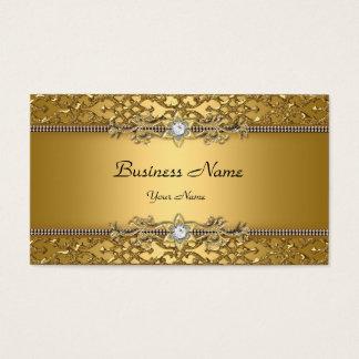 Jóia gravada do ouro damasco elegante elegante cartão de visitas