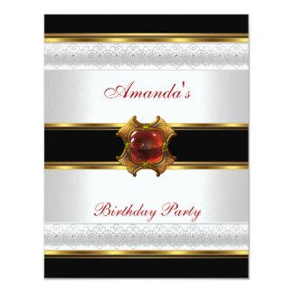 Jóia vermelha branca preta do ouro da festa de convites personalizado