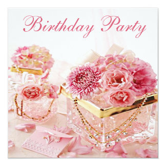 Jóias glamoroso, flores & festa de aniversário das convite quadrado 13.35 x 13.35cm