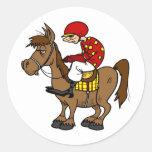 Jóquei do cavalo de Brown Adesivo Em Formato Redondo