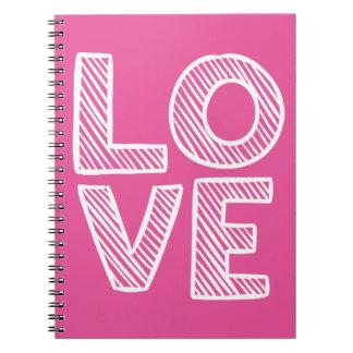 Jornal branco do Doodle do amor do rosa quente - Cadernos Espiral