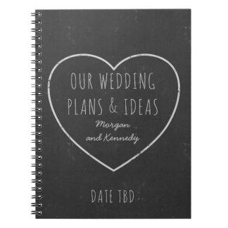 Jornal dos planos e das ideias do casamento do caderno espiral