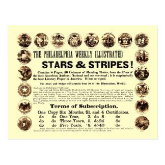 Jornal semanal de 1918 estrelas & de listras de cartão postal