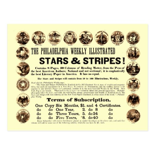 Jornal semanal de 1918 estrelas & de listras de cartões postais