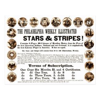 Jornal semanal de 1918 estrelas & de listras de cartao postal