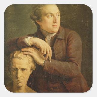 Joseph Nollekens (1737-1823) com seu busto de Laur Adesivo Em Forma Quadrada
