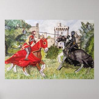 Joust medieval contra um poster do castelo