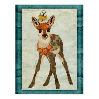 Jovem corça & cartão pequeno do pássaro cartoes postais