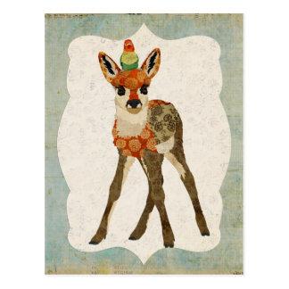 Jovem corça & cartão pequeno do pássaro cartão postal
