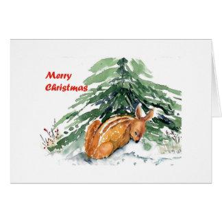 Jovem corça do Natal Cartão