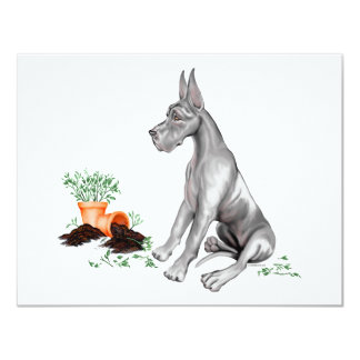 Jovem corça impertinente UC do filhote de cachorro Convite 10.79 X 13.97cm