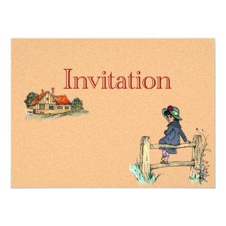 Jovem criança em um Raincoat Convite 13.97 X 19.05cm