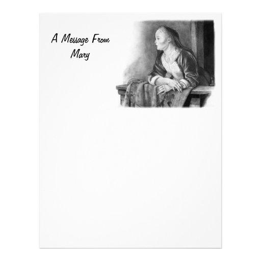 Jovem mulher em um balcão: Arte do lápis Papel De Carta Personalizados