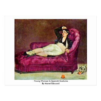 Jovem mulher no traje espanhol por Manet Edouard Cartão Postal