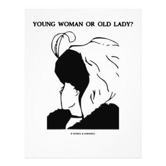Jovem mulher ou senhora idosa? (Ilusão óptica) Panfleto Coloridos