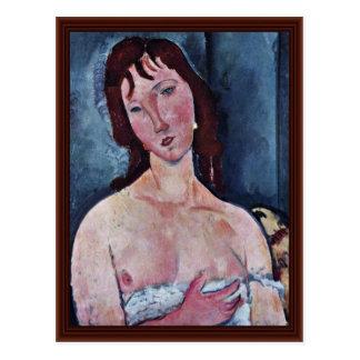 Jovem mulher por Modigliani Amedeo Cartão Postal