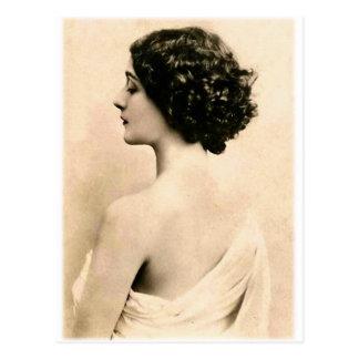 Jovem mulher retro da fotografia da arte das mulhe cartoes postais