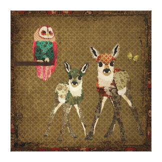 Jovens corças do vintage & canvas pequenas da coru impressão de canvas envolvida