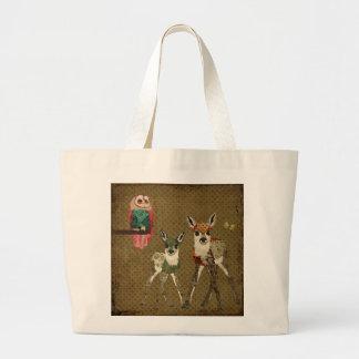 Jovens corças do vintage & saco da coruja de Rosa Bolsa