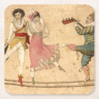 Jovens que dançam e que cantam, desenho do vintage porta-copo de papel quadrado