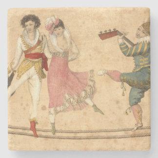 Jovens que dançam e que cantam, desenho do vintage porta copos de pedra