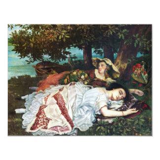 Jovens senhoras de Courbet nos bancos do Seine Convite 10.79 X 13.97cm