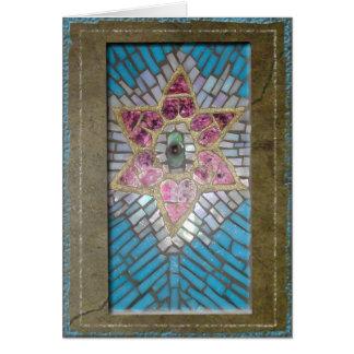 Judaica: Estrela de David dos corações do mosaico Cartão Comemorativo