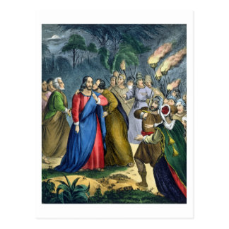 Judas trai seu mestre, de uma bíblia impressa cartão postal