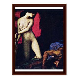 Judith e Holofernes por Franz colado Von Cartão Postal